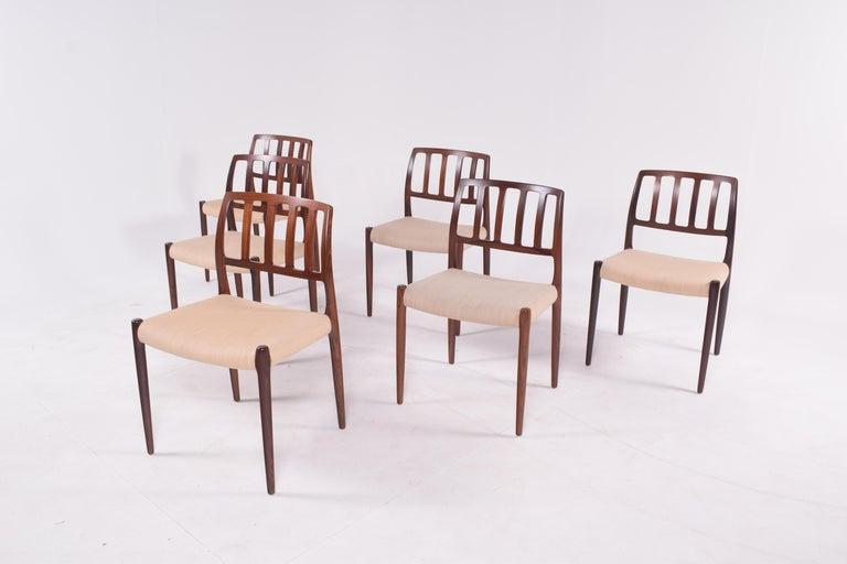 """Danish Set of Six Niels Møller """"Model 83"""" Rosewood Dining Chairs for J.L. Møller"""