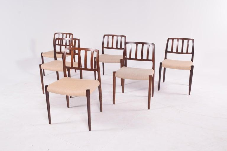 "Set of Six Niels Møller ""Model 83"" Rosewood Dining Chairs for J.L. Møller In Good Condition In Lisboa, Lisboa"