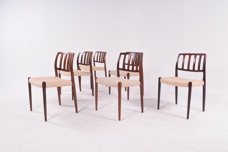 "Late 20th Century Set of Six Niels Møller ""Model 83"" Rosewood Dining Chairs for J.L. Møller"