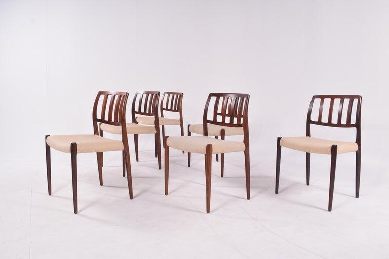 "Set of Six Niels Møller ""Model 83"" Rosewood Dining Chairs for J.L. Møller 1"