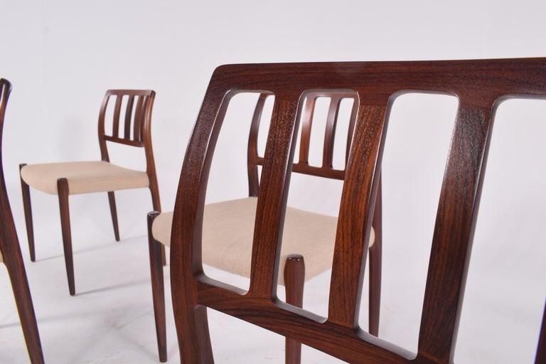 "Set of Six Niels Møller ""Model 83"" Rosewood Dining Chairs for J.L. Møller 2"