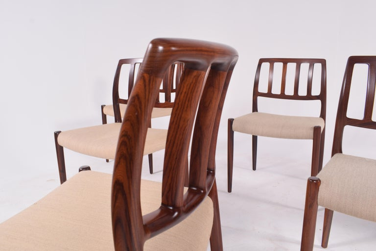 "Set of Six Niels Møller ""Model 83"" Rosewood Dining Chairs for J.L. Møller 3"
