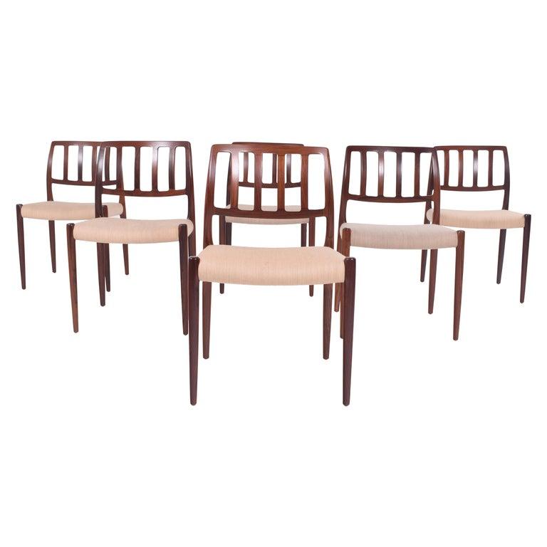 "Set of Six Niels Møller ""Model 83"" Rosewood Dining Chairs for J.L. Møller"