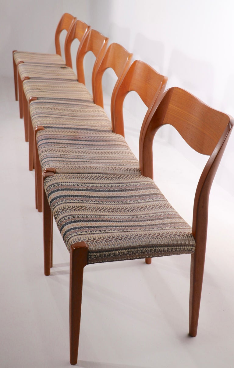 Set of Six Niels Moller Design Dinging Chairs Model 71 by J.L. Mollers Denmark For Sale 3