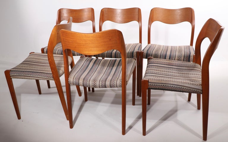 Set of Six Niels Moller Design Dinging Chairs Model 71 by J.L. Mollers Denmark For Sale 6