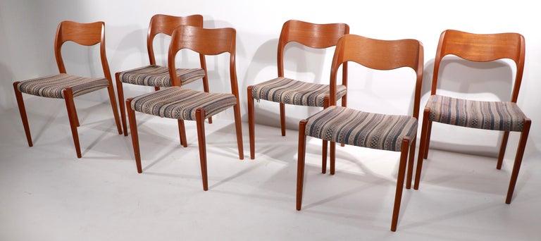 Teak Set of Six Niels Moller Design Dinging Chairs Model 71 by J.L. Mollers Denmark For Sale