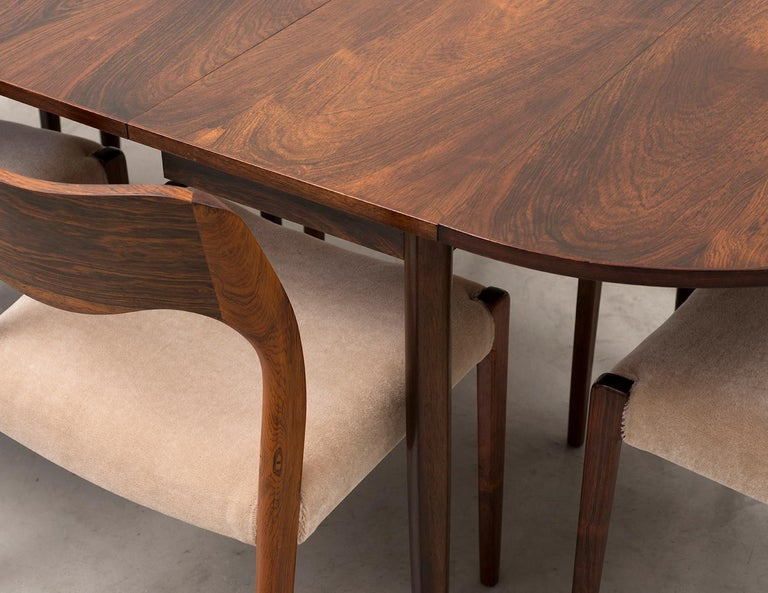 Set of Six Niels Moller Dining Chairs Model #71 in Rosewood and Velvet Mohair For Sale 4