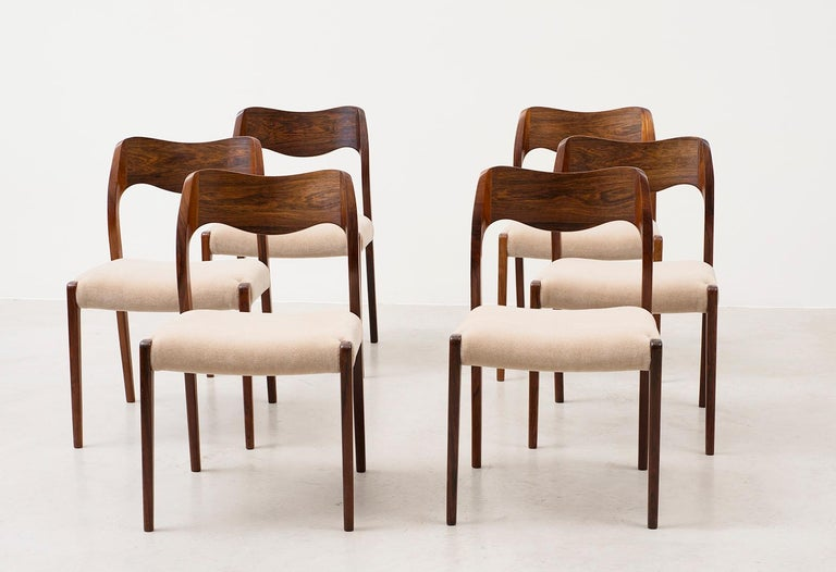Stunning set of six Niels Moller dining chairs model #71. Solid rosewood frames, seats reupholstered in a sumptuous Leo Schellens champagne mohair velvet. Denmark, 1950s.  Matching dining table available in separate listing.