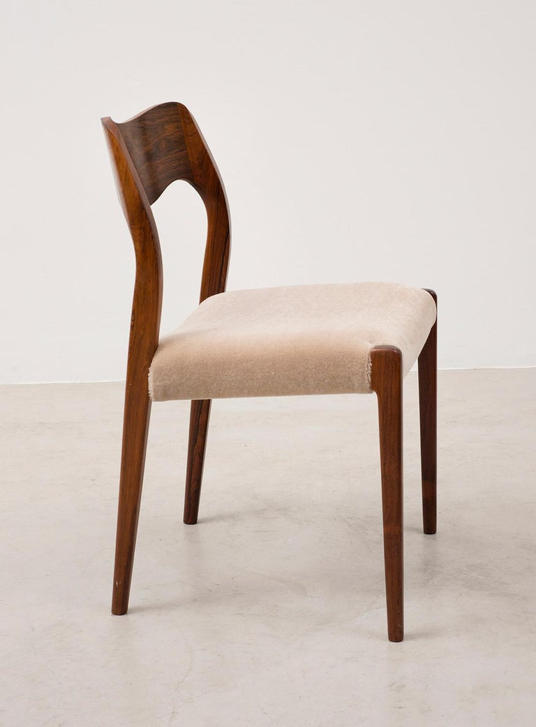 Danish Set of Six Niels Moller Dining Chairs Model #71 in Rosewood and Velvet Mohair For Sale
