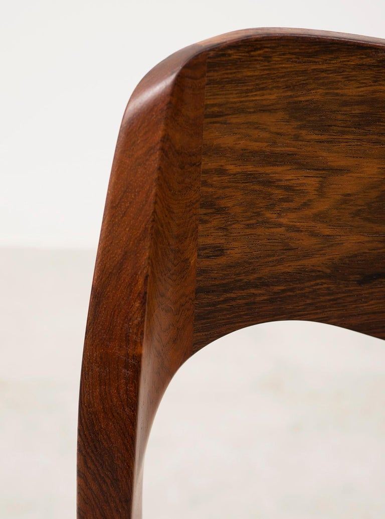 Set of Six Niels Moller Dining Chairs Model #71 in Rosewood and Velvet Mohair For Sale 1