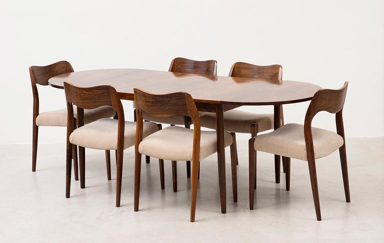 Set of Six Niels Moller Dining Chairs Model #71 in Rosewood and Velvet Mohair For Sale 3