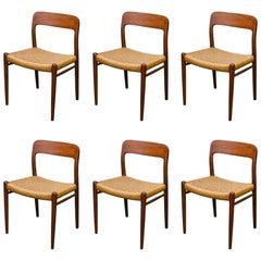 Set of Six Niels O. Møller Danish Teak Dining Chairs by J.L. Moeller