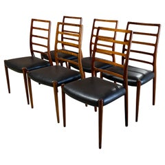 Set of Six Niels Otto Moller Ladder Model 82 Back Dining Chairs