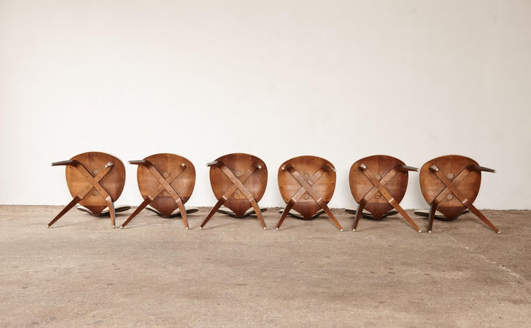 Set of Six Norman Cherner Dining Chairs, Plycraft, USA, 1960s For Sale 5