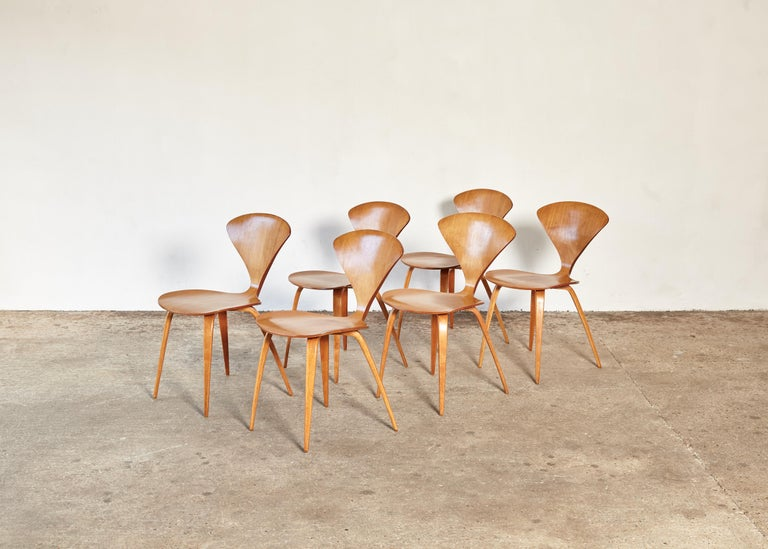American Set of Six Norman Cherner Dining Chairs, Plycraft, USA, 1960s For Sale