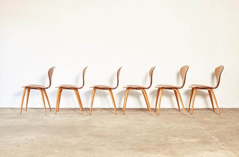 Wood Set of Six Norman Cherner Dining Chairs, Plycraft, USA, 1960s For Sale