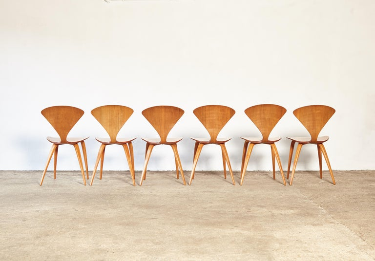 Set of Six Norman Cherner Dining Chairs, Plycraft, USA, 1960s For Sale 1