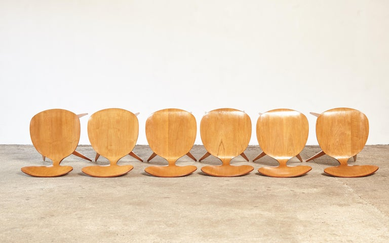 Set of Six Norman Cherner Dining Chairs, Plycraft, USA, 1960s For Sale 2