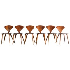 Set of Six Norman Cherner Dining Chairs, Plycraft, USA, 1960s