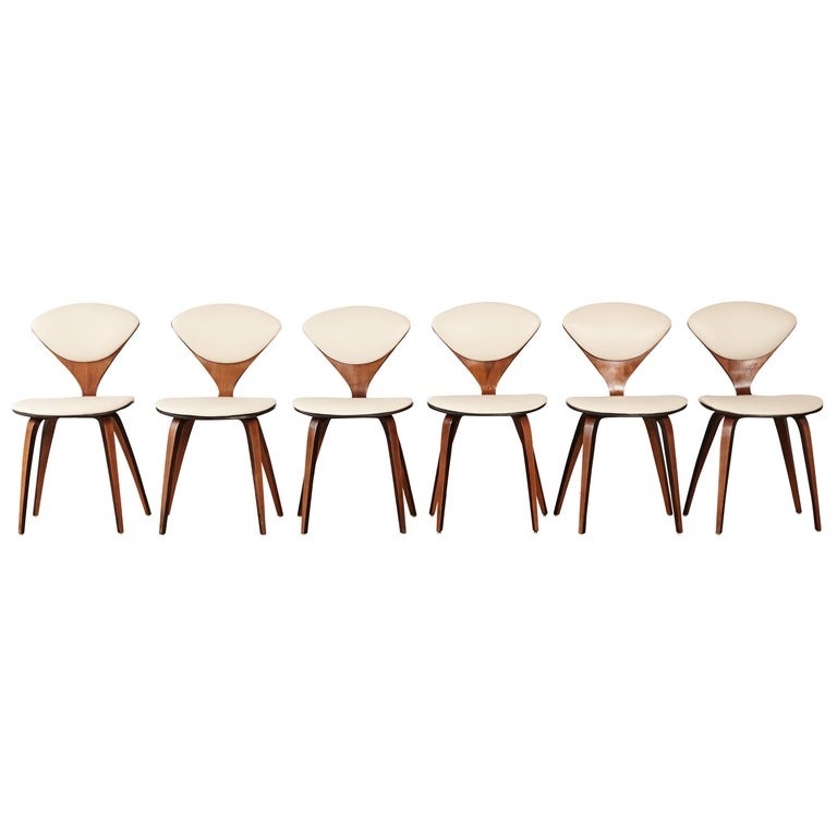 Set of Six Norman Cherner Dining Chairs, Plycraft, USA, 1960s For Sale