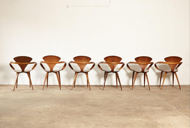 American Set of Six Norman Cherner Pretzel Dining Chairs, Made by Plycraft, USA, 1960s For Sale