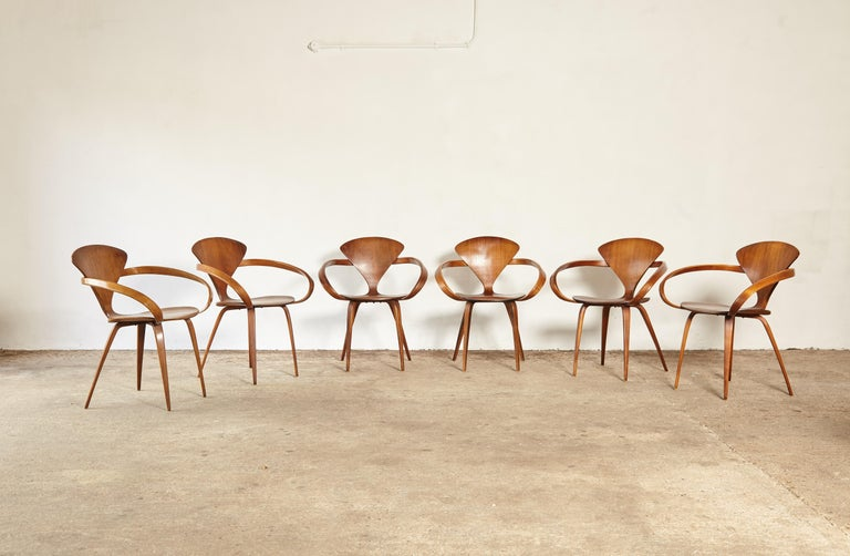 20th Century Set of Six Norman Cherner Pretzel Dining Chairs, Made by Plycraft, USA, 1960s For Sale