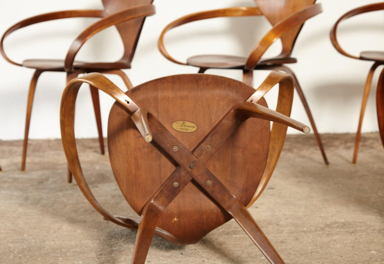 Set of Six Norman Cherner Pretzel Dining Chairs, Made by Plycraft, USA, 1960s For Sale 2