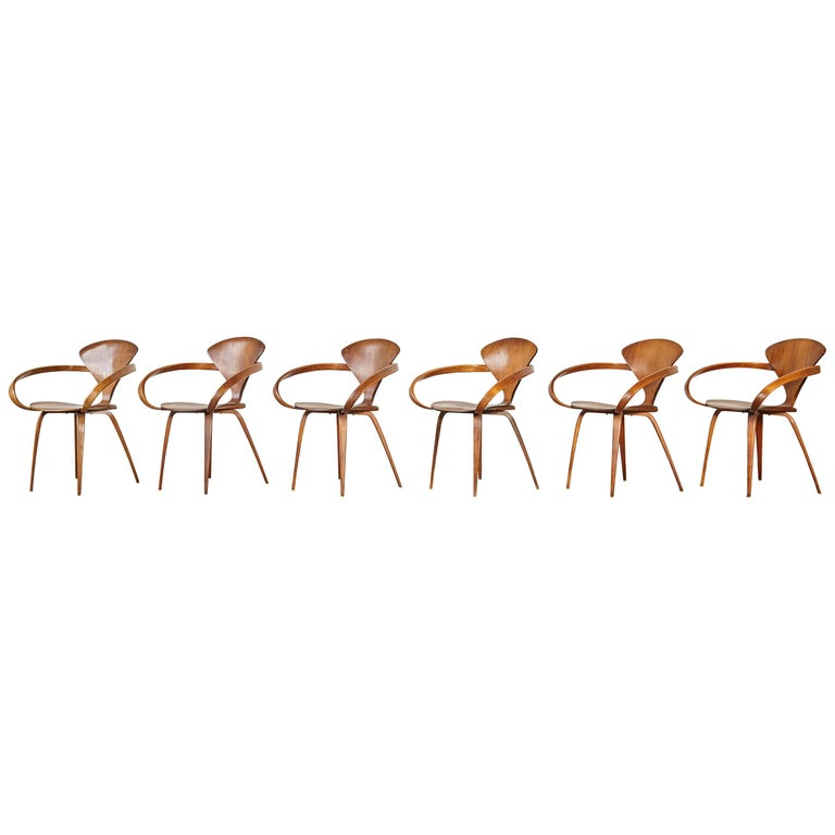 Set of Six Norman Cherner Pretzel Dining Chairs, Made by Plycraft, USA, 1960s For Sale