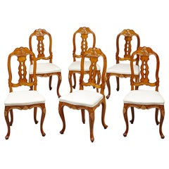 Set of Six North European 18th Century Rococo Dining Chairs