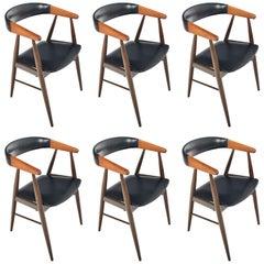 Set of Six Nova Mobler Danish Dining Armchairs in Rosewood, Midcentury
