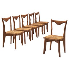 Set of Six Oak and Cord Chairs by Guillerme et Chambron