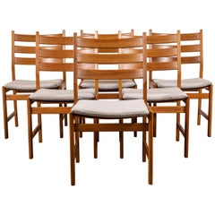 Set of Six Oak Dining Chairs by Kurt Ostevig for KP Mobler