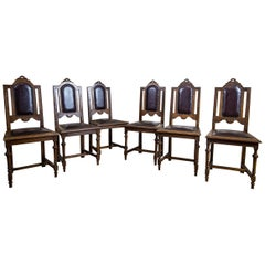 Set of Six Oak Dining Chairs from the Turn of the 19th and 20th Centuries