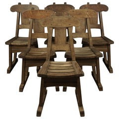 Set of Six Oak Dining Chairs in Oak, from Holland, circa 1960