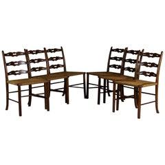 Set of Six Oak Dining Chairs, Woven Rush Seat, circa 1900