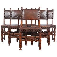Set of Six Oak Flemish Dining Chairs