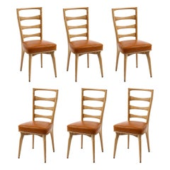 Set of Six Oak & Leather Side Dining Chairs, France, 1960's
