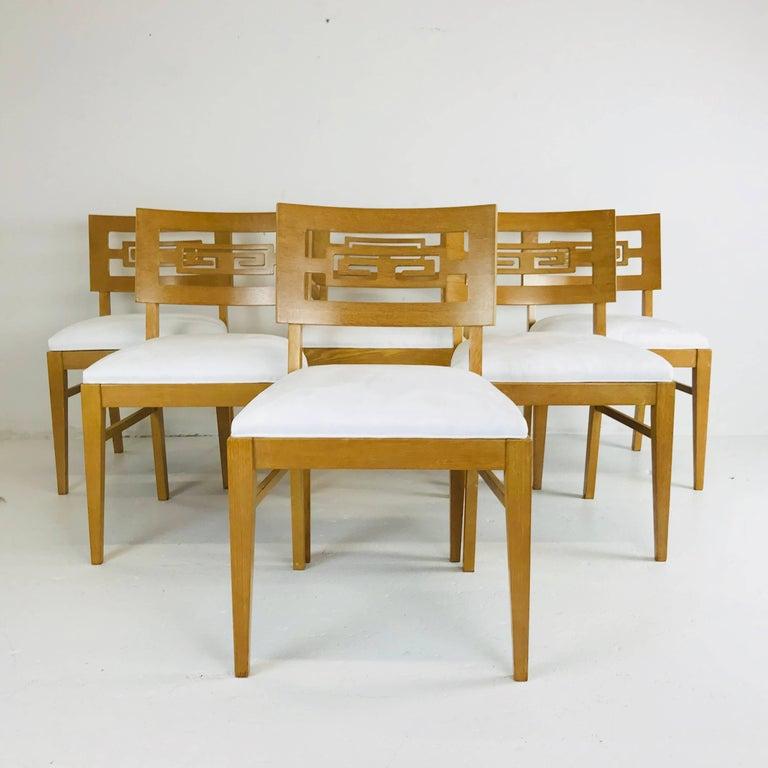 Mid-Century Modern Set of Six Oak Midcentury Greek Key Dining Chairs