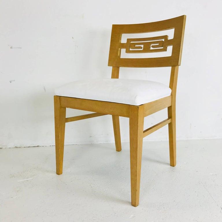 20th Century Set of Six Oak Midcentury Greek Key Dining Chairs