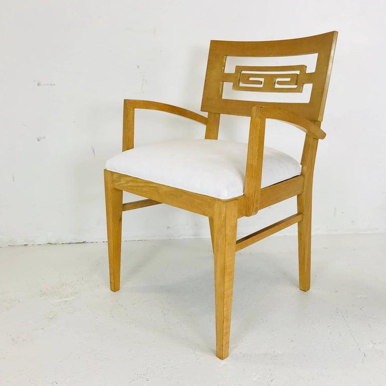 Upholstery Set of Six Oak Midcentury Greek Key Dining Chairs