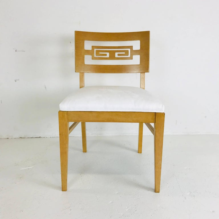 Set of Six Oak Midcentury Greek Key Dining Chairs 1