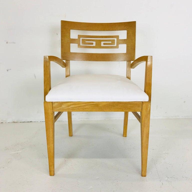 Set of Six Oak Midcentury Greek Key Dining Chairs 2