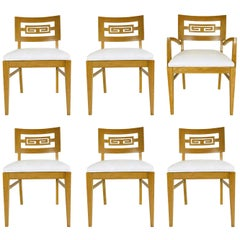 Set of Six Oak Midcentury Greek Key Dining Chairs