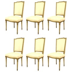 Set of Six of French Louis XVI Style Light Green Painted Side Chairs