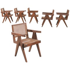"Set of Six ""Office Cane Chairs"" circa 1955 by Pierre Jeanneret"