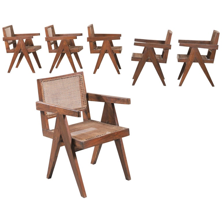 "Set of Six ""Office Cane Chairs"" circa 1955 by Pierre Jeanneret For Sale"