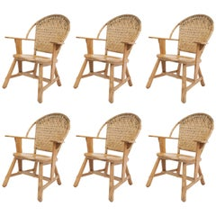 Set of Six Old Hickory Ashwood Dining Chairs