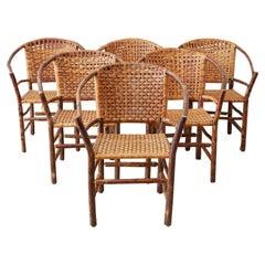 Set of Six Old Hickory Twig Hoop Adirondack Armchairs
