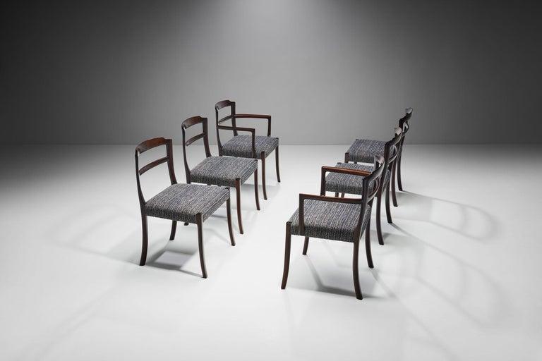 Scandinavian Modern Set of Six Ole Wanscher Dining Chairs for A. J. Iversen, Denmark, 1960s For Sale