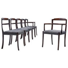 Set of Six Ole Wanscher Dining Chairs for A. J. Iversen, Denmark, 1960s